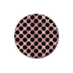 Circles2 Black Marble & Red & White Marble (r) Magnet 3  (round) by trendistuff