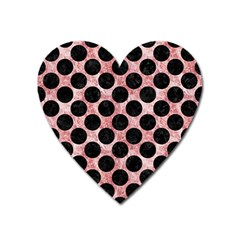 Circles2 Black Marble & Red & White Marble (r) Magnet (heart) by trendistuff