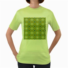 Arabesque Flower Star Women s Green T Shirt