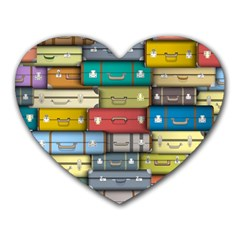 Colored Suitcases Heart Mousepads by AnjaniArt