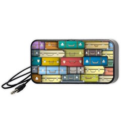 Colored Suitcases Portable Speaker (black)  by AnjaniArt