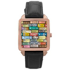 Colored Suitcases Rose Gold Leather Watch  by AnjaniArt