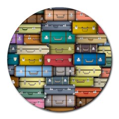 Colored Suitcases Round Mousepads by AnjaniArt