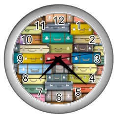 Colored Suitcases Wall Clocks (silver)  by AnjaniArt