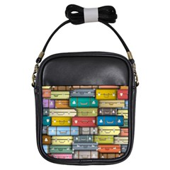 Colored Suitcases Girls Sling Bags by AnjaniArt