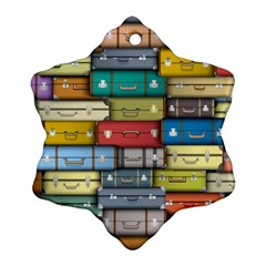 Colored Suitcases Snowflake Ornament (2 Side) by AnjaniArt