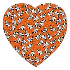 Cat Hat Orange Jigsaw Puzzle (heart) by AnjaniArt