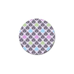 Damask Small Flower Purple Green Blue Black Floral Golf Ball Marker (4 Pack) by AnjaniArt