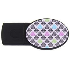Damask Small Flower Purple Green Blue Black Floral Usb Flash Drive Oval (4 Gb)  by AnjaniArt