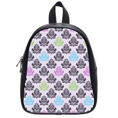 Damask Small Flower Purple Green Blue Black Floral School Bags (small)  by AnjaniArt