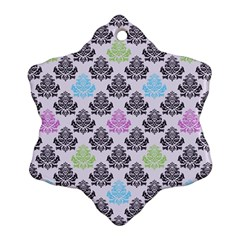 Damask Small Flower Purple Green Blue Black Floral Ornament (snowflake)  by AnjaniArt