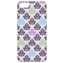 Damask Small Flower Purple Green Blue Black Floral Apple Iphone 5 Classic Hardshell Case by AnjaniArt