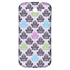 Damask Small Flower Purple Green Blue Black Floral Samsung Galaxy S3 S Iii Classic Hardshell Back Case by AnjaniArt