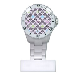 Damask Small Flower Purple Green Blue Black Floral Plastic Nurses Watch by AnjaniArt