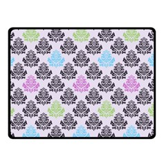 Damask Small Flower Purple Green Blue Black Floral Double Sided Fleece Blanket (small)  by AnjaniArt