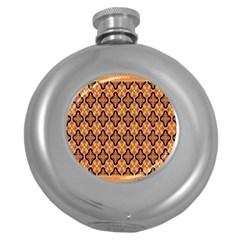 Flower Batik Round Hip Flask (5 Oz) by AnjaniArt