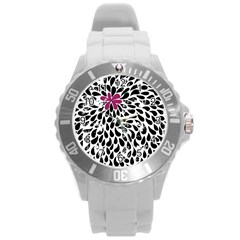 Flower Simple Pink Round Plastic Sport Watch (l) by AnjaniArt