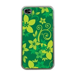 Flower Yellow Green Apple Iphone 4 Case (clear) by AnjaniArt