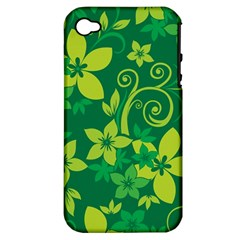 Flower Yellow Green Apple Iphone 4/4s Hardshell Case (pc+silicone) by AnjaniArt