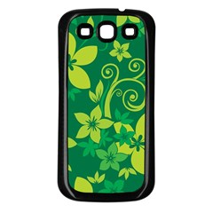 Flower Yellow Green Samsung Galaxy S3 Back Case (black)