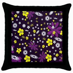 Floral Purple Flower Yellow Throw Pillow Case (black) by AnjaniArt