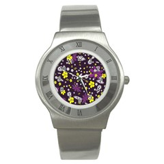Floral Purple Flower Yellow Stainless Steel Watch by AnjaniArt