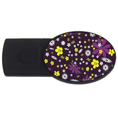 Floral Purple Flower Yellow Usb Flash Drive Oval (4 Gb)  by AnjaniArt
