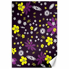 Floral Purple Flower Yellow Canvas 12  X 18   by AnjaniArt