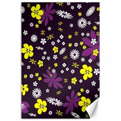 Floral Purple Flower Yellow Canvas 24  X 36  by AnjaniArt
