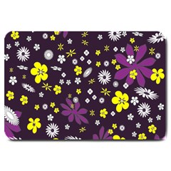 Floral Purple Flower Yellow Large Doormat  by AnjaniArt