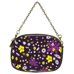 Floral Purple Flower Yellow Chain Purses (two Sides)  by AnjaniArt
