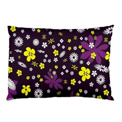 Floral Purple Flower Yellow Pillow Case by AnjaniArt