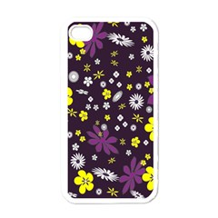 Floral Purple Flower Yellow Apple Iphone 4 Case (white) by AnjaniArt
