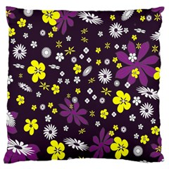 Floral Purple Flower Yellow Large Cushion Case (two Sides) by AnjaniArt