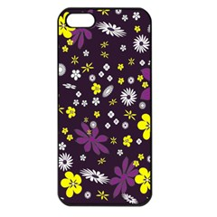 Floral Purple Flower Yellow Apple Iphone 5 Seamless Case (black) by AnjaniArt