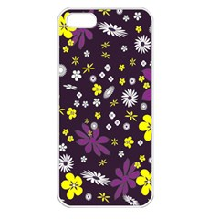 Floral Purple Flower Yellow Apple Iphone 5 Seamless Case (white) by AnjaniArt