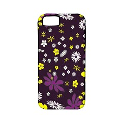 Floral Purple Flower Yellow Apple Iphone 5 Classic Hardshell Case (pc+silicone) by AnjaniArt