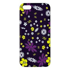 Floral Purple Flower Yellow Apple Iphone 5 Premium Hardshell Case by AnjaniArt