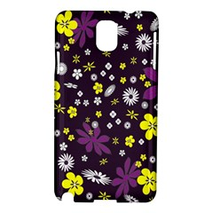 Floral Purple Flower Yellow Samsung Galaxy Note 3 N9005 Hardshell Case by AnjaniArt