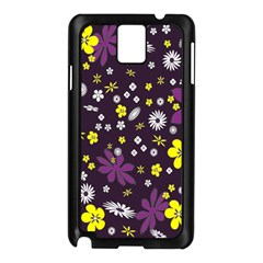 Floral Purple Flower Yellow Samsung Galaxy Note 3 N9005 Case (black) by AnjaniArt