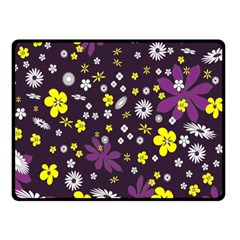 Floral Purple Flower Yellow Double Sided Fleece Blanket (small)  by AnjaniArt