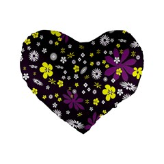 Floral Purple Flower Yellow Standard 16  Premium Flano Heart Shape Cushions by AnjaniArt