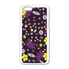 Floral Purple Flower Yellow Apple Iphone 6/6s White Enamel Case by AnjaniArt