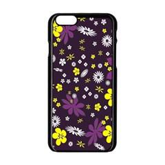 Floral Purple Flower Yellow Apple Iphone 6/6s Black Enamel Case by AnjaniArt