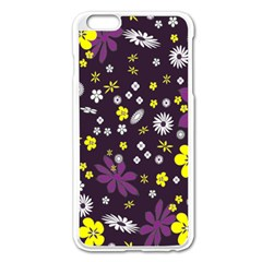 Floral Purple Flower Yellow Apple Iphone 6 Plus/6s Plus Enamel White Case by AnjaniArt
