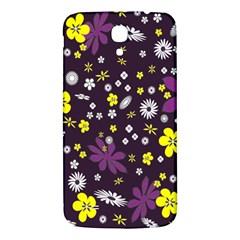 Floral Purple Flower Yellow Samsung Galaxy Mega I9200 Hardshell Back Case by AnjaniArt