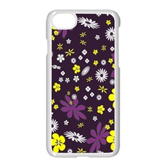 Floral Purple Flower Yellow Apple Iphone 7 Seamless Case (white) by AnjaniArt