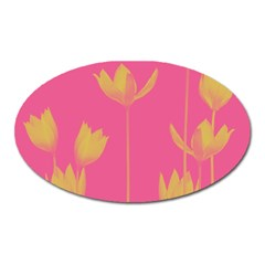 Flower Yellow Pink Oval Magnet by AnjaniArt