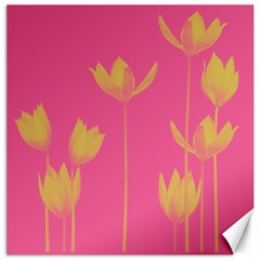 Flower Yellow Pink Canvas 16  X 16   by AnjaniArt