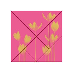 Flower Yellow Pink Acrylic Tangram Puzzle (4  X 4 ) by AnjaniArt